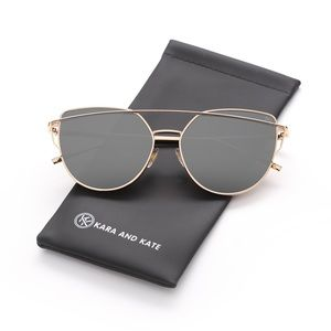 Silver On Gold Mirrored Sunglasses, Aviator …